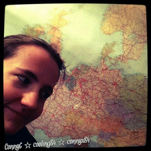 {pic} Me looking very stupid at the map of europe on the wall at my grandmom home. Europe4thewin ^^
