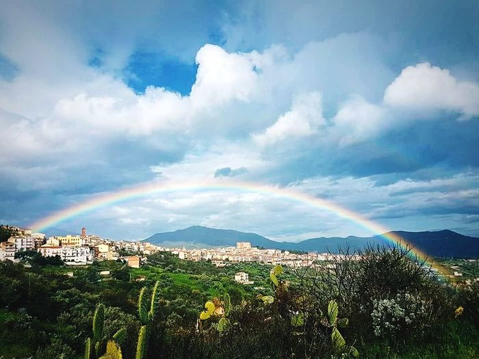 Castelbuono Sicilia Madonie Mountains City Cityscape Mountain Multi Colored Beauty Sunset Sky Landscape Cloud - Sky Architecture