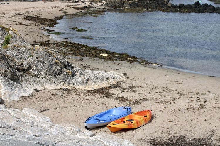 High angle view of toy on shore