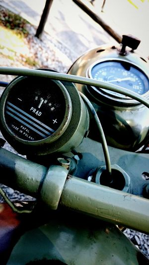 I found those gauges very interesting. I'm not sure, but I bet it's Soviet M-72 motorcycle. Gauge Army Motorcycle Soviet M-72 Electricity  Vehicle Close-up Land Vehicle Speedometer Car Old-fashioned Close-up EyeEmNewHere