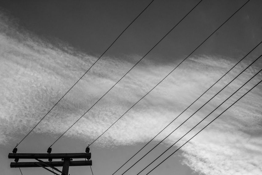 Sky Lines Blackandwhite Cable Cloud - Sky Day Julhofragaphotography Low Angle View Nature No People Outdoors Sky Telephone Line