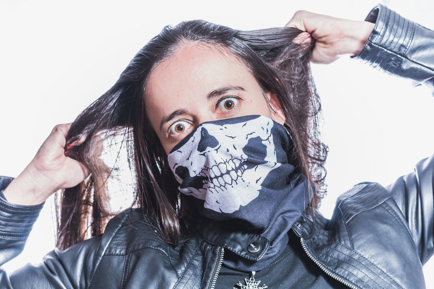 Bandana Fed Up Portrait Of A Woman Woman Crazy Crazy Eyes Enough Hair Pull Mask No More Sexygirl Skull Skull Mask