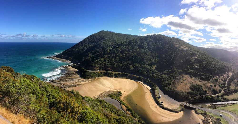 Ocean View Lorne Ocean Mountain Beach Sea Sky Beauty In Nature Scenics Nature Horizon Over Water Cliff Water Tranquility Winding Road Outdoors Greatoceanroad Blue Oceanside