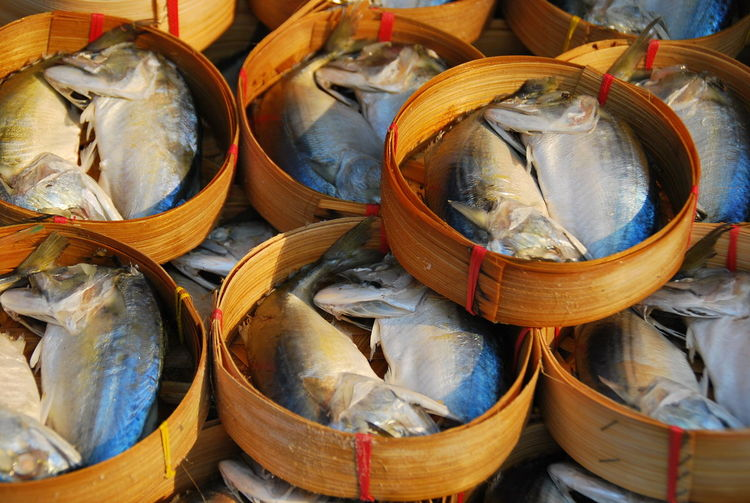 High angle view of fishes in basket for sale at market