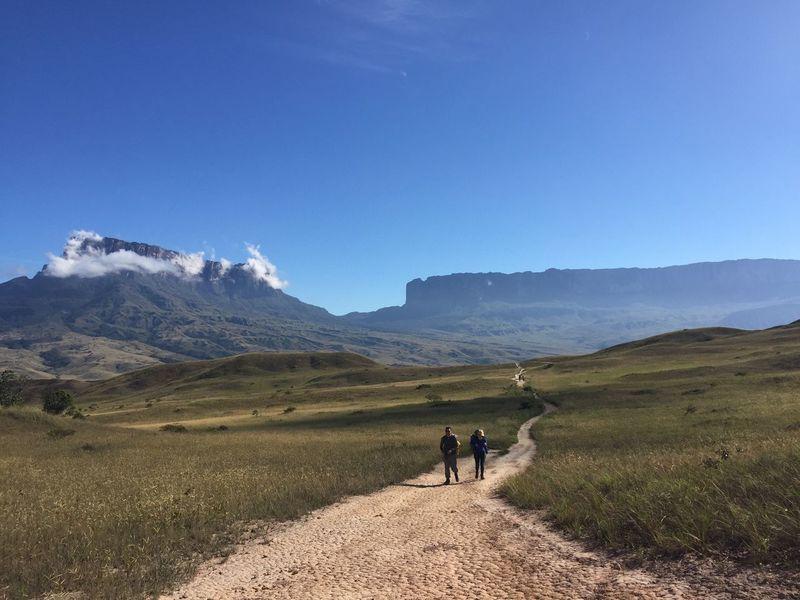 Auyantepuy Gran Sabana Tepuy Roraima Walking Mountain Nature Landscape Beauty In Nature Scenics Clear Sky Sky