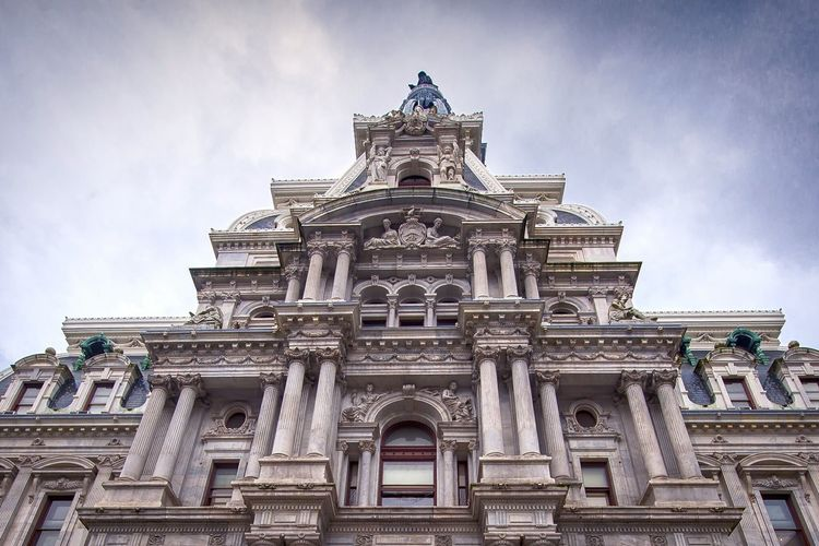 Low Angle View Of Philadelphia City Hall Against Sky