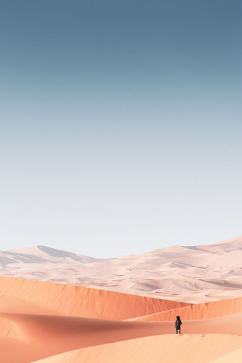 Person standing on desert against clear sky