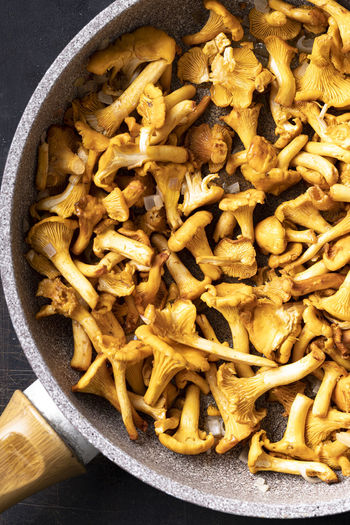 High angle view of mushrooms in bowl