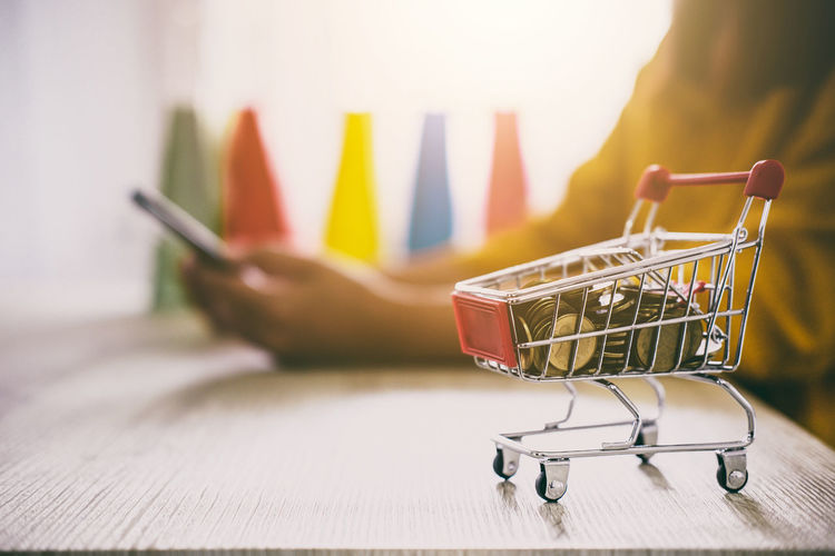 Coins In Small Shopping Cart By Woman Using Phone On Desk