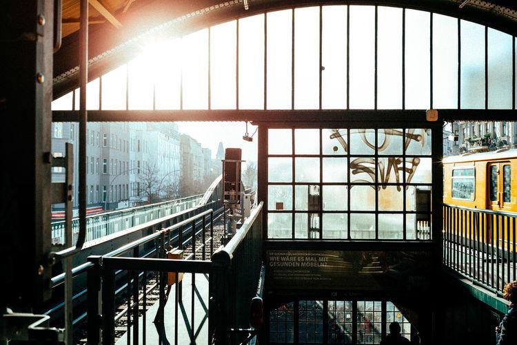 View of railroad bridge in city
