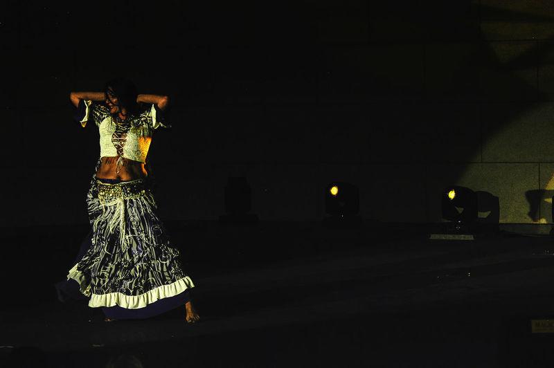 Illuminated statue at night