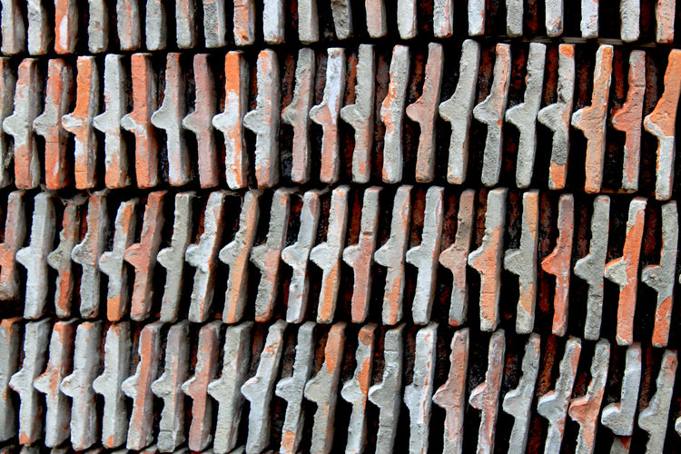 a lot of bricks in a row Backgrounds Brick Bricks Brickstones Close-up Hintergrund In A Row Muster No People Pattern Repetition Side By Side Ziegel