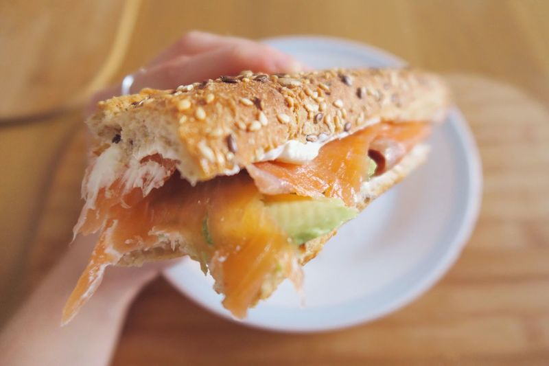 Close-Up Of Salmon Sandwich