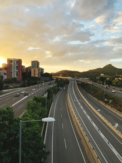 High angle view of highway at sunset