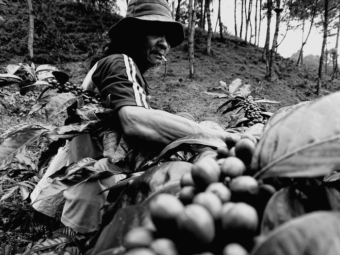 Side view of man working at farm