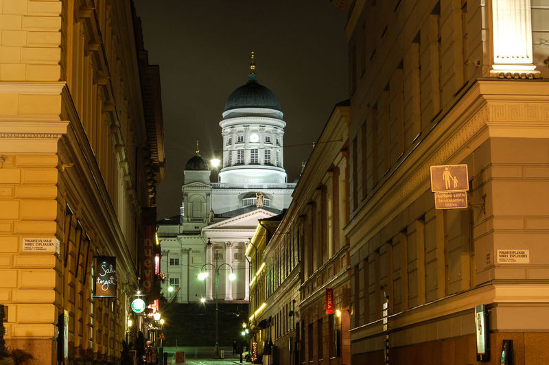 Architecture City Dome Finland Helsinki By Night Long Exposure Night Travel Destinations Tuomiokirkko (helsinki Cathedral)