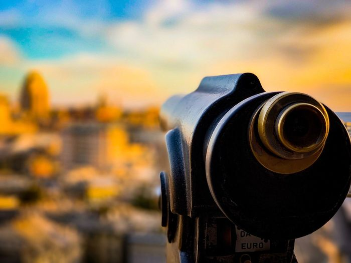 HAVE A LOOK Sunset Telescope City Genova Focus On Foreground Close-up Sky No People Binoculars Photography Themes Outdoors Sunset Metal