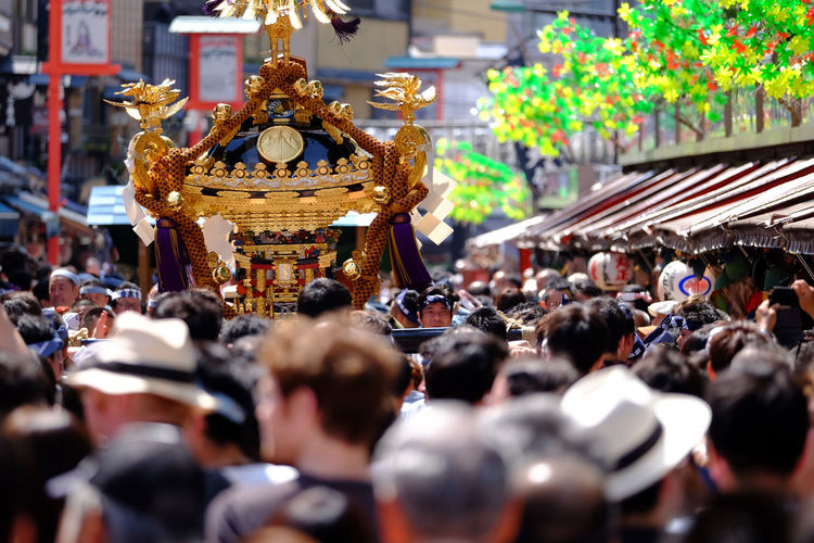 Crowd on street during mikoshi festival