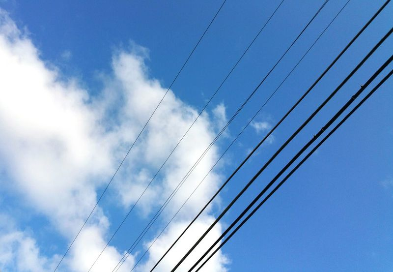 Sky Power Lines Diagonal Clouds Clouds And Sky Electric Lines Straight Lines Lines