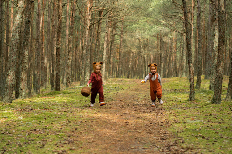 Toddler baby twins in bear bonnets playing and having fun in the woods