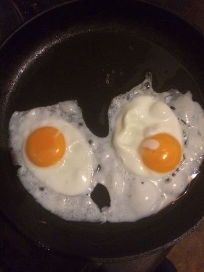 Two Fried Eggs Food Frying Pan High Angle View Breakfast No People Close-up Egg Yolk Egg White Ready-to-eat Day