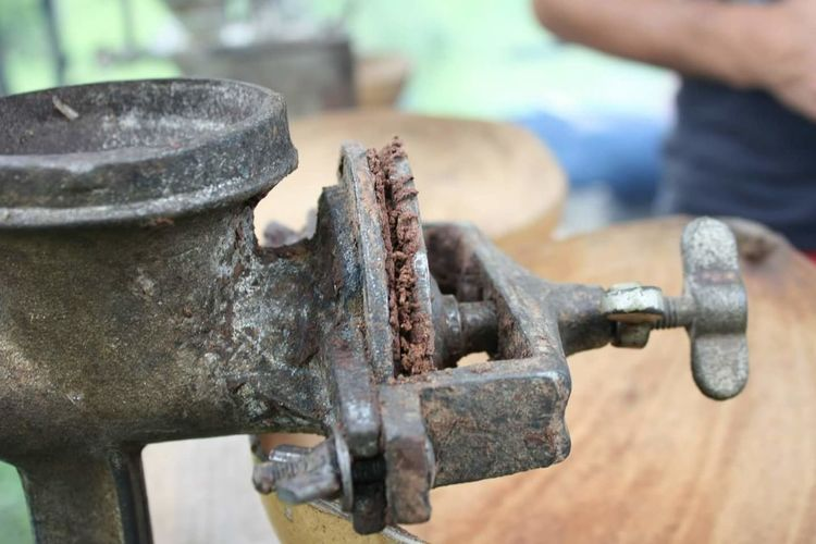 Close-up of vintage coffee grinder
