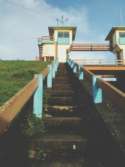 Steps Staircase Steps And Staircases Sky Cloud - Sky The Way Forward No People Outdoors Architecture Day Lombok Indonesia Batu Jai Dam Straight Ahead Stright Up Stair