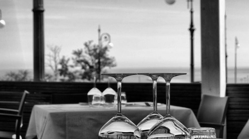 Black And White Business Drink Empty Food And Drink Glass Glass - Material No People Outdoors Restaurant Still Life Street Photography Table