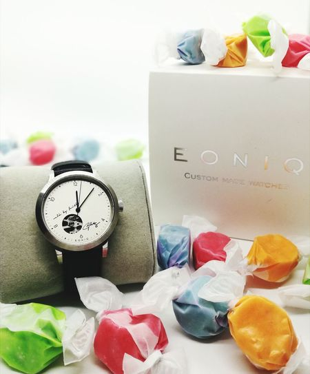 My own sweet time..😀 Pastel Colored No People Indoors  Sweet Food Drinking Glass Drink Candy Day Close-up Watch Customized Customizedwatch Eoniq Eoniqwatch Eoniqdesign