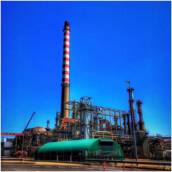 Blue Clear Sky Built Structure Industry Factory Outdoors Building Exterior Architecture No People Sky Day Oil Refinery Petrochemical Plant