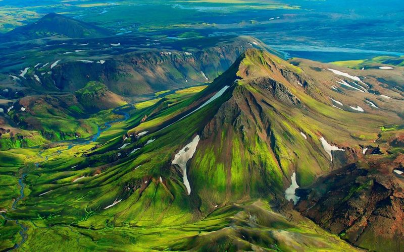 Aerial View Beauty In Nature Day Green Color High Angle View Landscape Mountain Nature No People Outdoors Scenics Sky Travel Destinations Volcanic Landscape Volcano Water