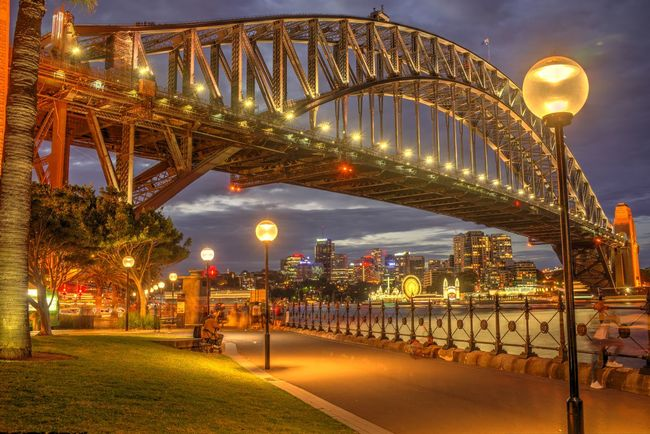 Hickson Road Reserve after dark. Australia Harbour Bridge Arch Bridge Architecture Bridge Bridge - Man Made Structure Building Exterior Built Structure City Connection Dusk Glowing Illuminated Lighting Equipment Luna Park Luna Park Sydney Night No People Outdoors Sky Skyscraper Street Light Sydney Transportation Travel Destinations