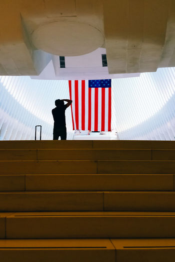 Rear view of silhouette man standing by american flag