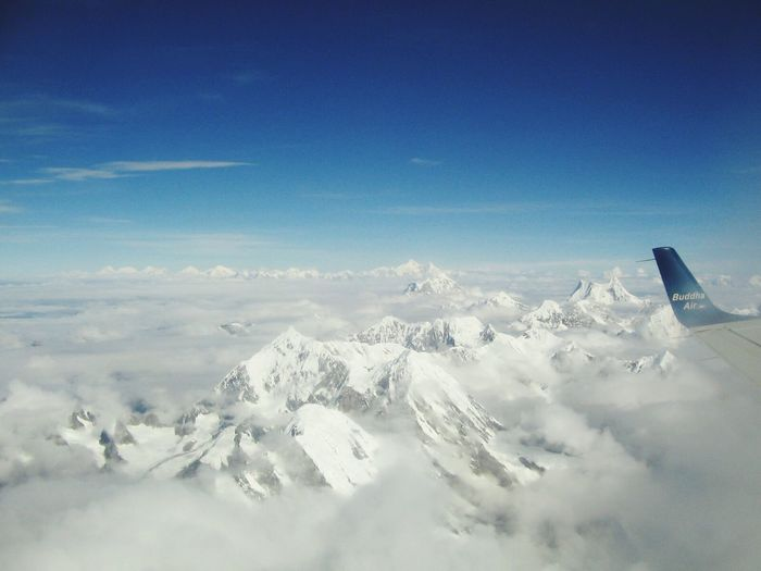 Snow Winter Airplane Cold Temperature Nature Aerial View Sky No People Scenics Beauty In Nature Transportation Landscape Blue Airplane Wing Tranquility Journey Air Vehicle Outdoors 🌏my Life⛩ 🤠my Holidays😎 Nepal Everest Region Himalayas Buddha Air EyeEmNewHere