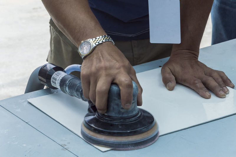Carpentry Clean Dirty Hand Industry Job Mechanic Metal Operator Repair Sander Tool Work Worker Working Workshop