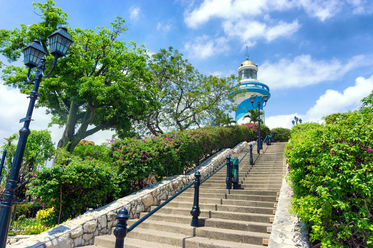 Low angle view of steps leading to lighthouse at santa ana hill against sky