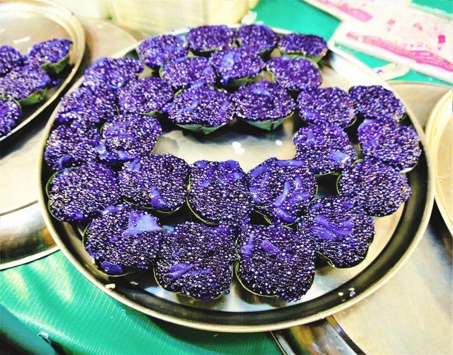 Thaidessert Sweet Thaisweet Bangkok Thailand. Purple Table Close-up