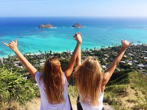 Rear View Sea Only Women Happiness Two People Outdoors Nature Friendship Togetherness Horizon Over Water Beauty In Nature People Sunlight Sun Sea Ozean Wind Blond Hair Long Hair (null)Beach Hot Sky