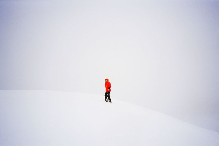 Person on snow covered field