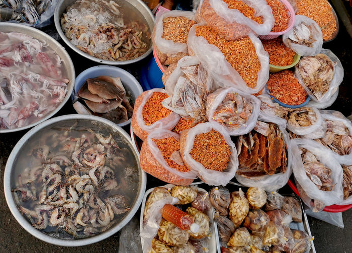 High angle view of food in market stall sea food