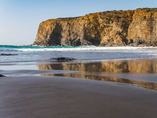 Nature Nature Photography Portugal Reflection Tranquility Travel Travel Photography Traveling Beach Beauty In Nature Cavaleiro Cliff Landscape Nature_collection Naturelovers No People Photography Sand Scenics - Nature Sea Seascape Sky Tranquil Scene Travel Destinations Water