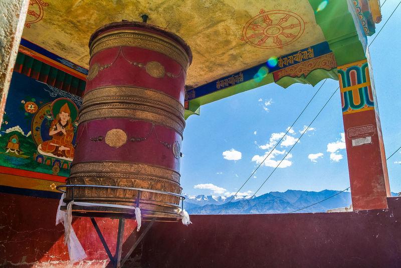 Thikse gompa or thikse monastery Buddhism India Leh Leh Ladakh.. Mountain Prayer Wheels Religion Thiksey Travel Travel Destinations