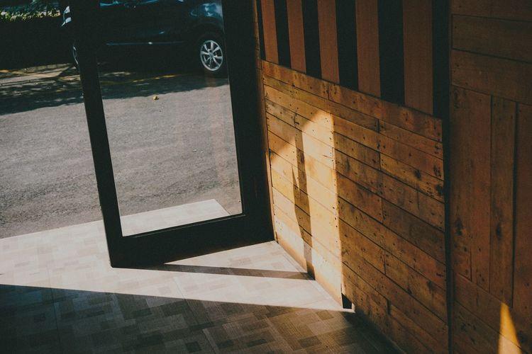Shadow on tiled floor