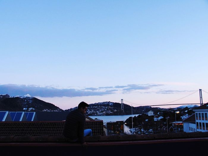 Norway Europe Fjord Bridge View Built Structure Lifestyles Dusk Sunset Blue Cloud - Sky One Person Sitting First Eyeem Photo Go Higher Inner Power Stories From The City EyeEmNewHere