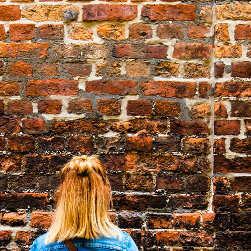 Think... / (c) Nidal Sadeq Copy Space Hair Textures And Surfaces Thinking Adult Adults Only Blond Hair Brick Wall Day Hairstyle Human Body Part Lifestyles Long Hair One Person One Woman Only Outdoors People Real People Rear View Texture Think Thinking About Life Women