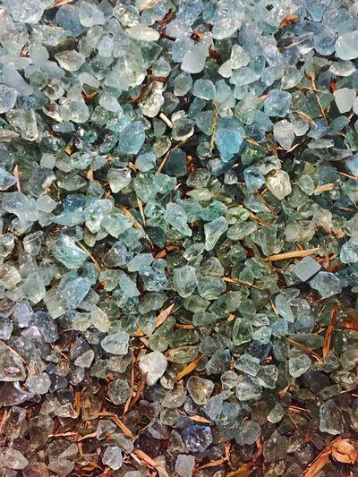 Rocks Crystal Glass Leaves Blue