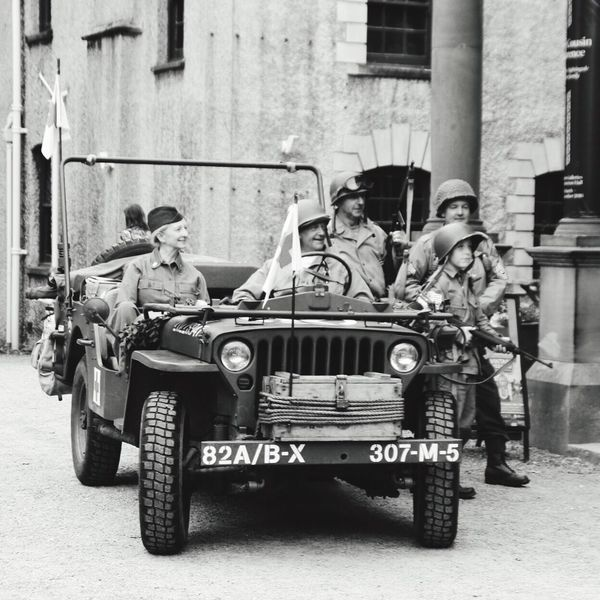 Blackandwhite 1940s Weekend Jeep at Lotherton Hall