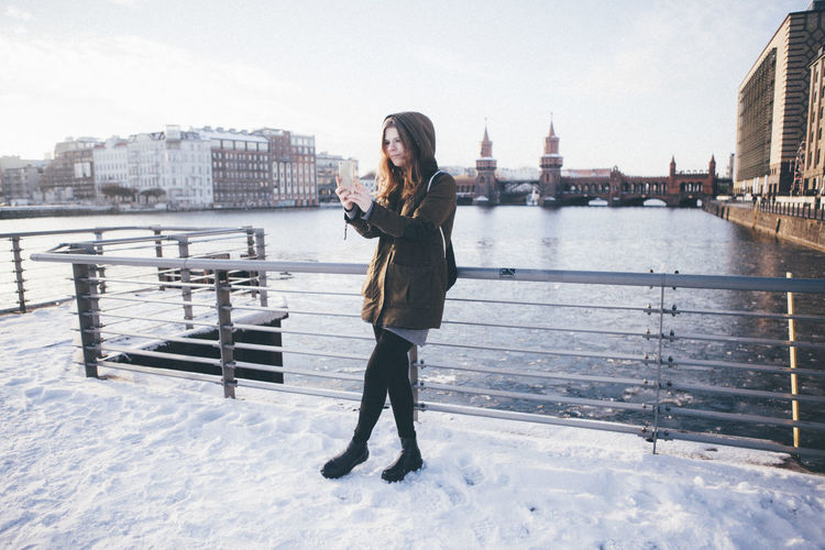 Backpack Berlin Oberbaumbrücke Selfie Snow Spree Student Taking Photos Urban Winter Young Woman