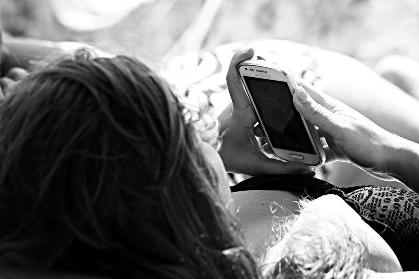 Awaiting call... Blackandwhite Woman Phone Moment