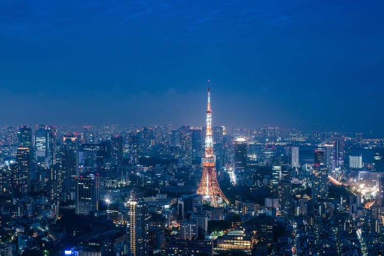 City Cityscape Architecture Tokyo Tokyo Tower Travel Destinations Skyscraper High Angle View Aerial View Battle Of The Cities Japan Night Illuminated Built Structure Tower Building Exterior Modern Wide Shot Sky